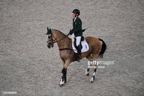 Tokyo , Japan - 2 August 2021; Sam Watson of Ireland riding Flamenco during the eventing jumping team final and individual qualifier at the...