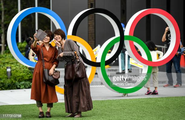 Tokyo , Japan - 21 October 2019; Locals take a selfie outside the Japanese Olympic Museum in Shinjuku City. The Tokyo 2020 Games of the XXXII...