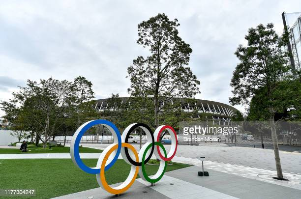 Tokyo , Japan - 21 October 2019; Olympic rings are seen outside the Tokyo Olympic Stadium ahead of the 2020 Tokyo Summer Olympic Games. The Tokyo...