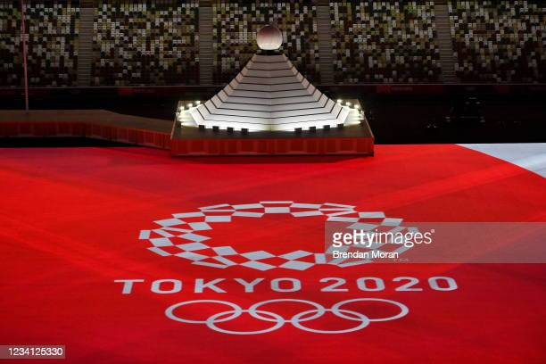 Tokyo , Japan - 23 July 2021; A general view of the opening ceremony, held without spectators but with VIP dignitaries in attendance, during the 2020...