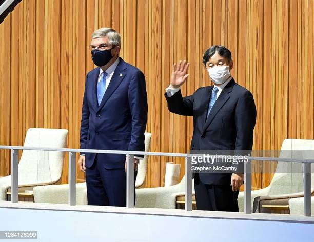 Tokyo , Japan - 23 July 2021; Emperor Naruhito of Japan, right, with the President of the International Olympic Committee Thomas Bach during the 2020...