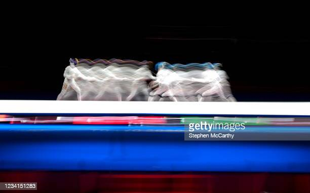 Tokyo , Japan - 24 July 2021; A general view of the Women's Épée Individual Final between Ana Maria Popescu of Romania and Yiwen Sun of China, right,...