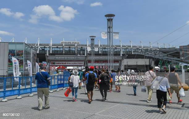 Tokyo Japan 24 June 2017 Fans enter the stadium before the international rugby match between Japan and Ireland in the Ajinomoto Stadium in Tokyo Japan