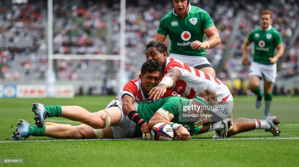 Tokyo , Japan - 24 June 2017; Josh van der Flier of Ireland scores his side's second try during the international rugby match between Japan and Ireland in the Ajinomoto Stadium in Tokyo, Japan.