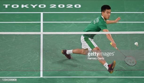 Tokyo , Japan - 26 July 2021; Nhat Nyugen of Ireland in action against Niluka Karunaratne of Sri Lanka during the men's singles group play stage...