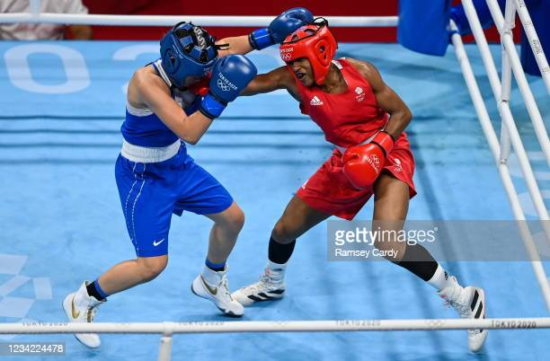 Tokyo , Japan - 27 July 2021; Caroline Dubois of Great Britain, right, and Donteja Sadiku of Kosovo during the women's lightweight round of 94 at the...