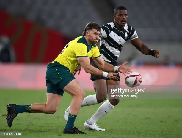 Tokyo , Japan - 27 July 2021; Lewis Holland of Australia during the Men's Rugby Sevens quarter-final match between Fiji and Australia at the Tokyo...