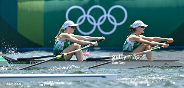 Tokyo , Japan - 28 July 2021; Aoife Casey, left, and Margaret Cremen of Ireland on their way to finishing 5th place in the Women's Lightweight Double...