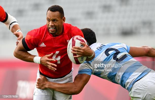 Tokyo , Japan - 28 July 2021; Dan Norton of Great Britain is tackled by Lucio Cinti of Argentina during the Men's Rugby Sevens bronze medal match...