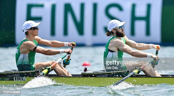 Tokyo , Japan - 28 July 2021; Fintan McCarthy, left, and Paul O'Donovan of Ireland in action during the Men's Lightweight Double Sculls semi-final...