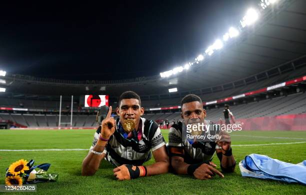 Tokyo , Japan - 28 July 2021; Meli Derenalagi, left, and Bolaca Napolioni of Fiji with their gold medals following victory in the Men's Rugby Sevens...