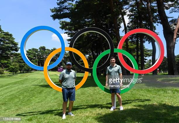 Tokyo , Japan - 28 July 2021; Shane Lowry, left, and Rory McIlroy of Ireland with the Olympic rings during a practice round at the Kasumigaseki...