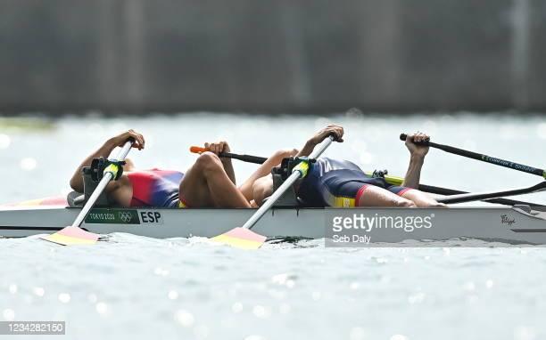 Tokyo , Japan - 29 July 2021; Caetano Horta Pombo, left, and Manel Balastegui of Spain react after winning the Men's Lightweight Double Sculls final...