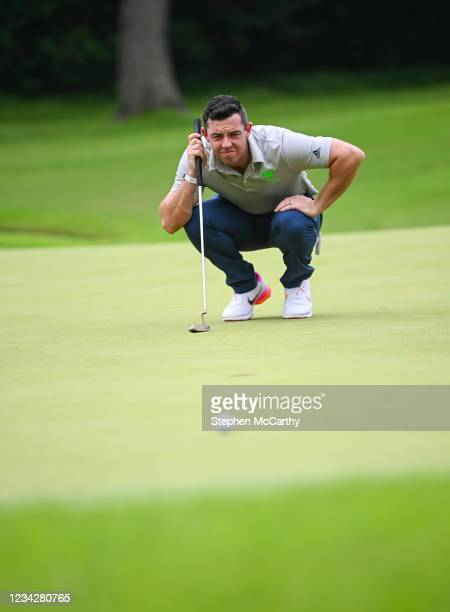 Tokyo , Japan - 29 July 2021; Rory McIlroy of Ireland lines up a putt on the fifth green during round 1 of the men's individual stroke play at the...