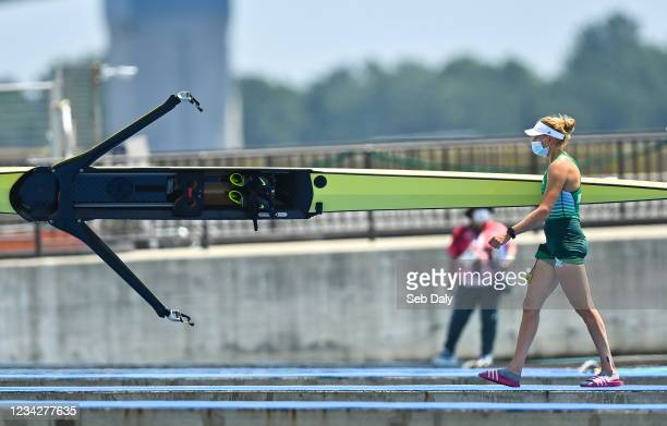Tokyo , Japan - 29 July 2021; Sanita Pupure of Ireland after finishing in fifth place in the Women's Single Sculls semi-final A/B at the Sea Forest...
