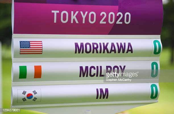 Tokyo , Japan - 29 July 2021; Signage featuring the names of Collin Morikawa of USA, Rory McIlroy of Ireland and Sungjae Im of South Korea during...