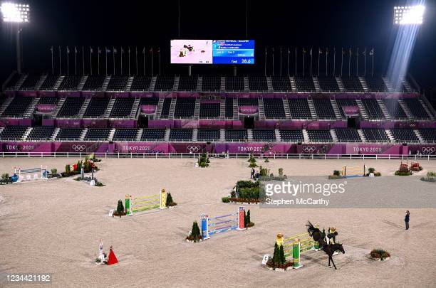 Tokyo , Japan - 3 August 2021; Abdelkebir Quaddar of Marocco riding Istanbull V.H Ooievaarsho during the jumping individual qualifier at the...