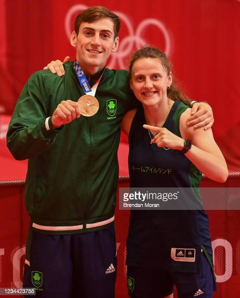Tokyo , Japan - 3 August 2021; Bronze medalist Aidan Walsh of Ireland with his sister Michaela Walsh after the men's welterweight division medal...