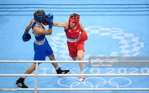 Tokyo , Japan - 3 August 2021; Kellie Harrington of Ireland, right, and Imane Khelif of Algeria during their women's lightweight quarter-final bout...