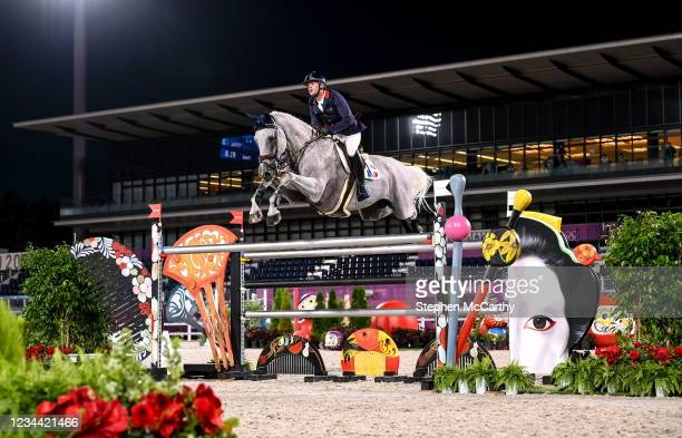 Tokyo , Japan - 3 August 2021; Mathiew Billot of France riding Quel Filou 13 during the jumping individual qualifier at the Equestrian Park during...