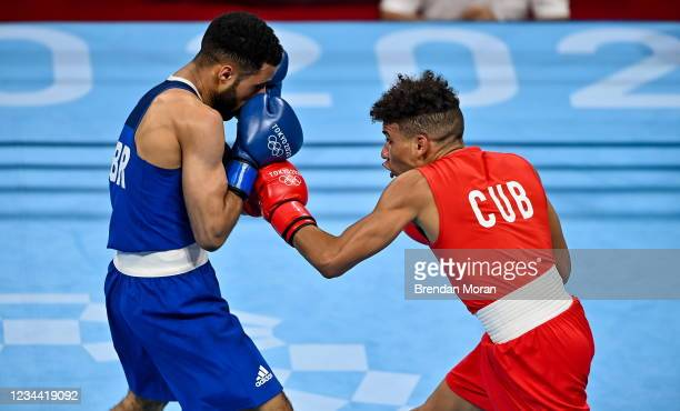 Tokyo , Japan - 3 August 2021; Yosbany Veitia of Cuba, right, and Galal Yafai of Great Britain during their men's flyweight quarter-final bout at the...