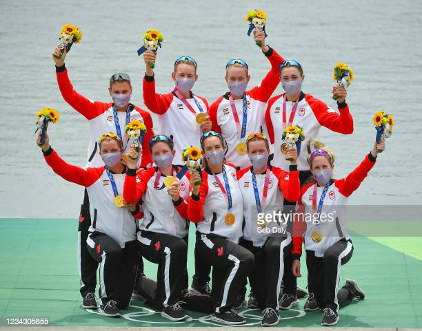 Tokyo , Japan - 30 July 2021; Canada Women's Eight celebrate after winning gold in the Women's Eight final at the Sea Forest Waterway during the 2020...