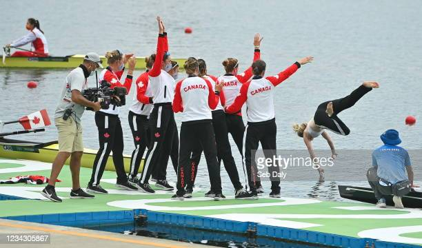 Tokyo , Japan - 30 July 2021; Canada Women's Eight throw coxwain Kristen Kit into the water after winning gold in the Women's Eight final at the Sea...