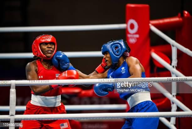 Tokyo , Japan - 30 July 2021; Caroline Dubois of Great Britain, right, and Rashida Ellis of United States during their women's lightweight round of...