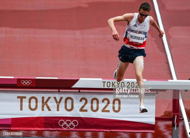 Tokyo , Japan - 30 July 2021; Phil Norman of Great Britain clears the water jump during the men's 3000 metres steeplechase heat 1 at the Olympic...