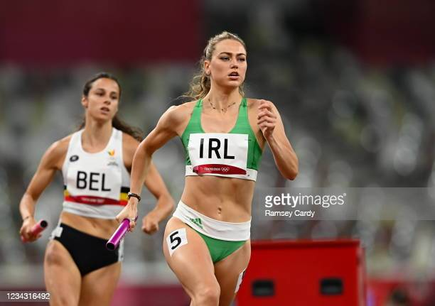 Tokyo , Japan - 30 July 2021; Sophie Becker of Ireland in action during the 4x400 metre mixed relay at the Olympic Stadium during the 2020 Tokyo...