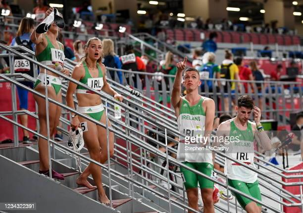 Tokyo , Japan - 30 July 2021; The Ireland 4x400 mixed relay team, from left, Phil Healy, Sophie Becker, Christopher O'Donnell and Cillin Greene after...