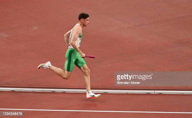 Tokyo , Japan - 31 July 2021; Cillin Greene of Ireland during the mixed 4 x 400 metres relay final at the Olympic Stadium during the 2020 Tokyo...