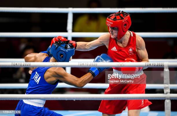 Tokyo , Japan - 5 August 2021; Kellie Harrington of Ireland, right, and Sudaporn Seesondee of Thailand during their women's lightweight semi-final...