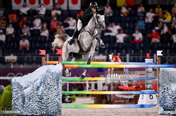 Tokyo , Japan - 6 August 2021; Shane Sweetnam of Ireland riding Alejandro, falls at the 8th fence, during the jumping team qualifier at the...