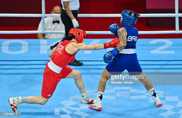 Tokyo , Japan - 8 August 2021; Kellie Harrington of Ireland, left, and Beatriz Ferreira of Brazil during their women's lightweight final bout at the...