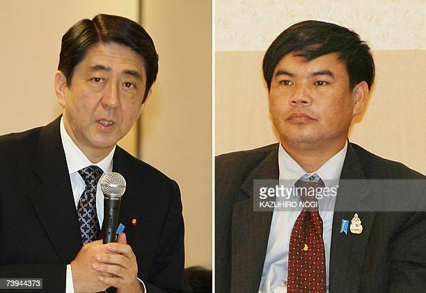 A combo photo shows Japanese Prime Minister Shinzo Abe speaking and Thailand's Banjong Panjoy a relative of Anocha Panjoy believed to have been...