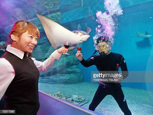 A woman share a toast of the Beaujolais Nouveau wine with a diver at Tokyo's Aqua Stadium aquarium during the tasting party early 16 November 2006 A...