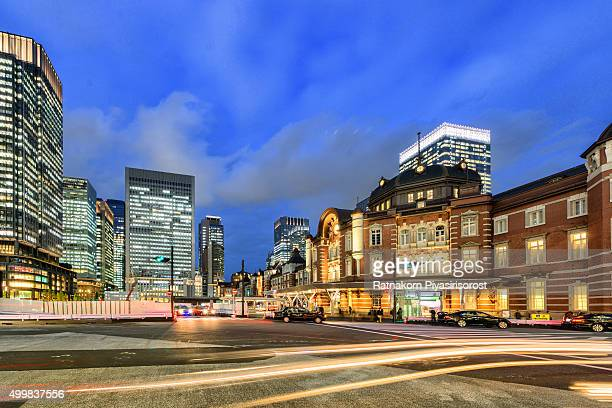 Tokyo, Japan at the Marunouchi business district and Tokyo Station