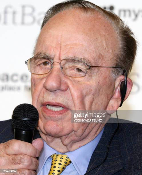 Australian media baron Rupert Murdoch Chairman and CEO of News Corporation announces News Corporation and Japan's Internet giant Softbank will launch...
