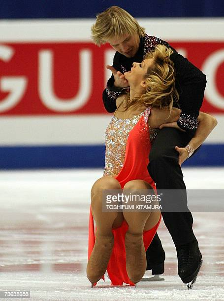 Bulgarian Ice Dancing pair Albena Denkova and Maxim Staviski performs during the compulsory dance on the first day of the World Figure Skating...