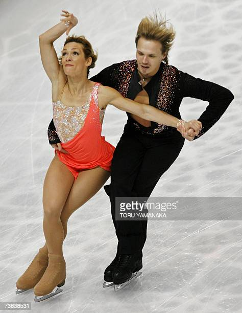 Bulgarian skaters Albena Denkova and her partner Maxim Staviski perform during their compulsory ice dance event in the World Figure Skating...
