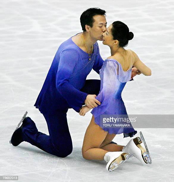Chinese skater Zhao Hongbo kisses his partner Shen Xue after their free skating of pair event in the World Figure Skating Championships in Tokyo 21...