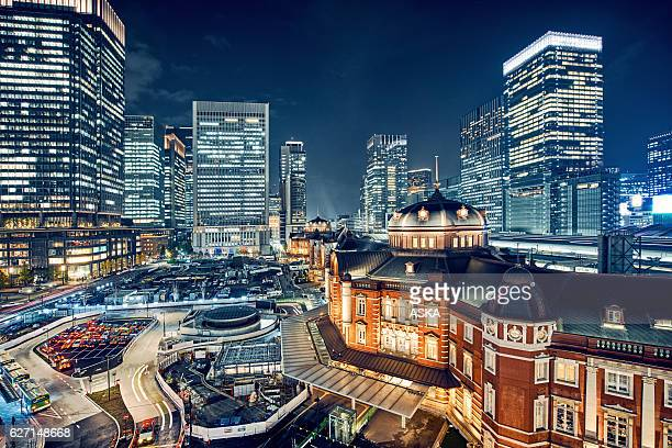 tokyo, japan cityscape at tokyo station - tokyo japan stock pictures, royalty-free photos & images