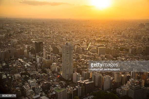 tokyo japan cityscape, this img took from metropolitian tower - 斜めから見た図 ストックフォトと画像