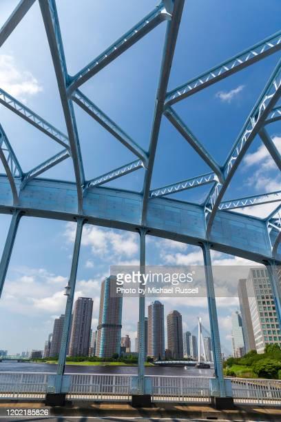 tokyo japan eitai bridge chuo-ohashi vertical - 永代橋 ストックフォトと画像