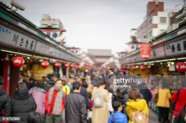 Tokyo, Japan - Feb 10,2018- Traditional Sanja Matsuri festival. A traditional altar is carried through the crowded roads at Asakusa temple.