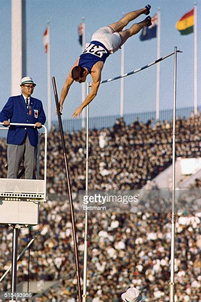 Fred Hansen, of U.S. And 1964 Olympic gold medalist, making the winning pole vault.