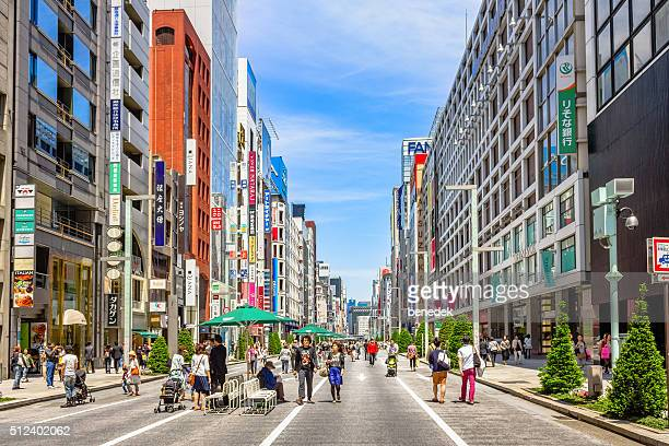 tokyo japan ginza shopping district - ginza stock pictures, royalty-free photos & images