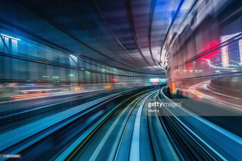 Tokyo Japan High Speed Train Tunnel Motion Blur Abstract : Stock Photo