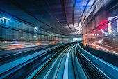 Tokyo Japan High Speed Train Tunnel Motion Blur Abstract